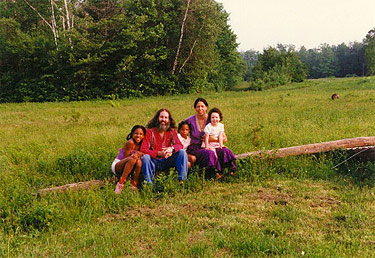 The Ananda family on the land in 1987