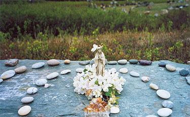 Mother Mary on an alter above the medicine wheel circle.